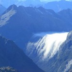 Clouds hugging the McKinnon Pass in Fiordland