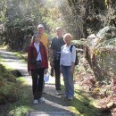 Tour guests walk in New Zealand rain forest